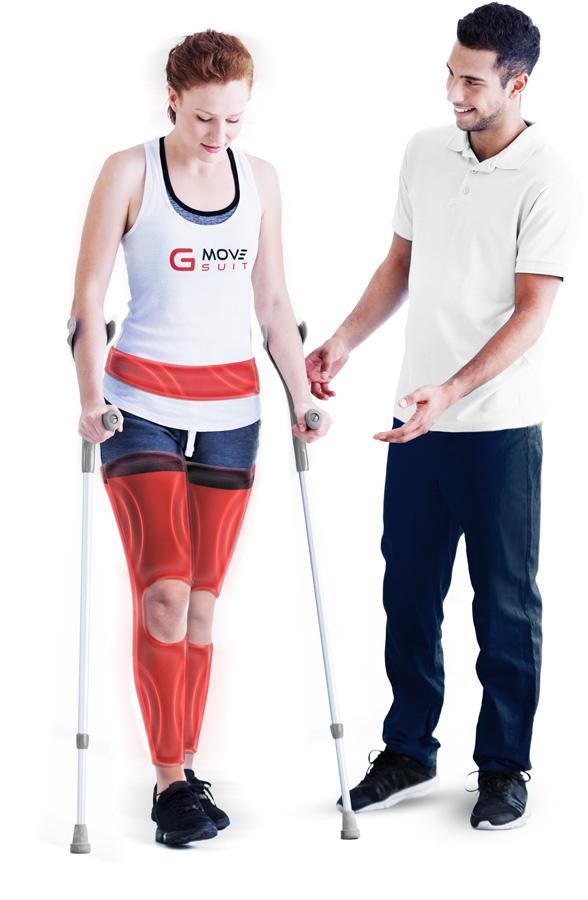 Femme avec effet gmove-suit orthopédie